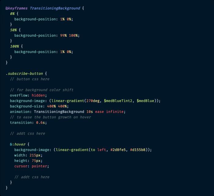 کد CSS گرادینت پس زمینه برای دکمه و متحرک سازی آن با کمک انیمیشن keyframes.