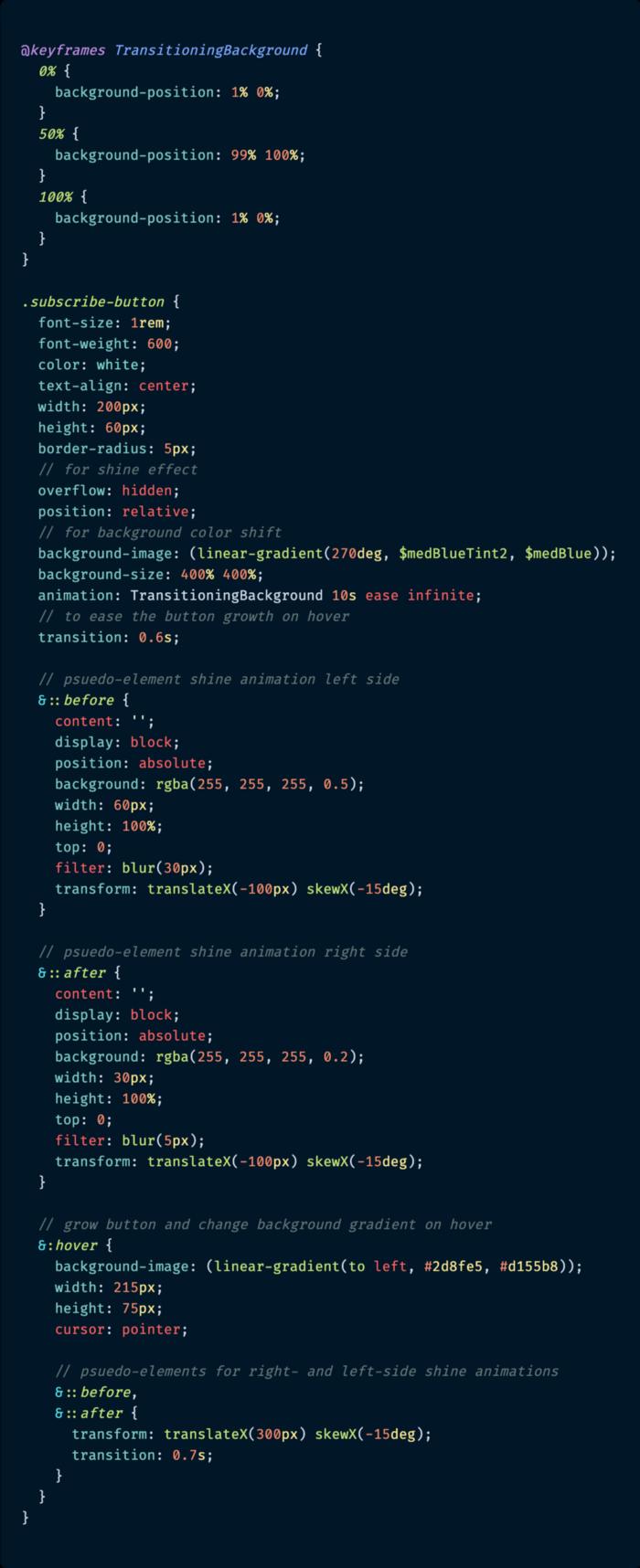 CSS کامل دکمه - متشکل از طراحی ظاهر اولیه، گرادینتهای پس زمینه و جلوه درخشان.