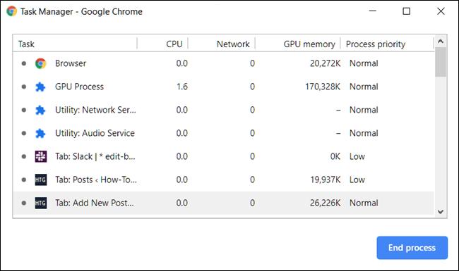 تصویر صفحه Task Manager در کروم